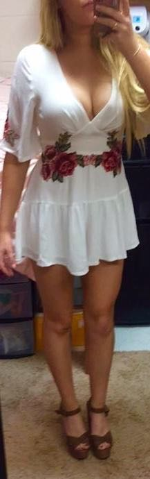 Hello Molly White Flowy Romper With Rose Detail