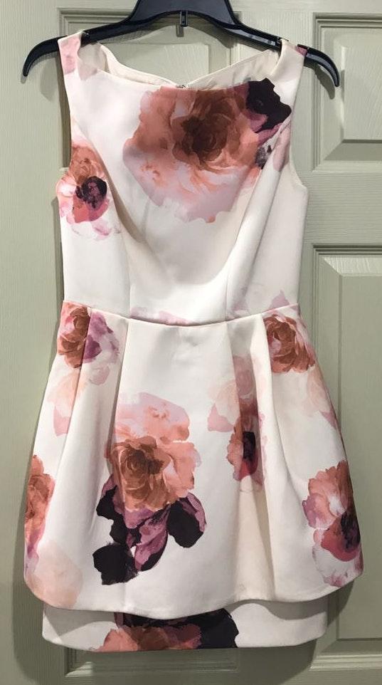 Keepsake Floral Peplum Off The Shoulder Dress