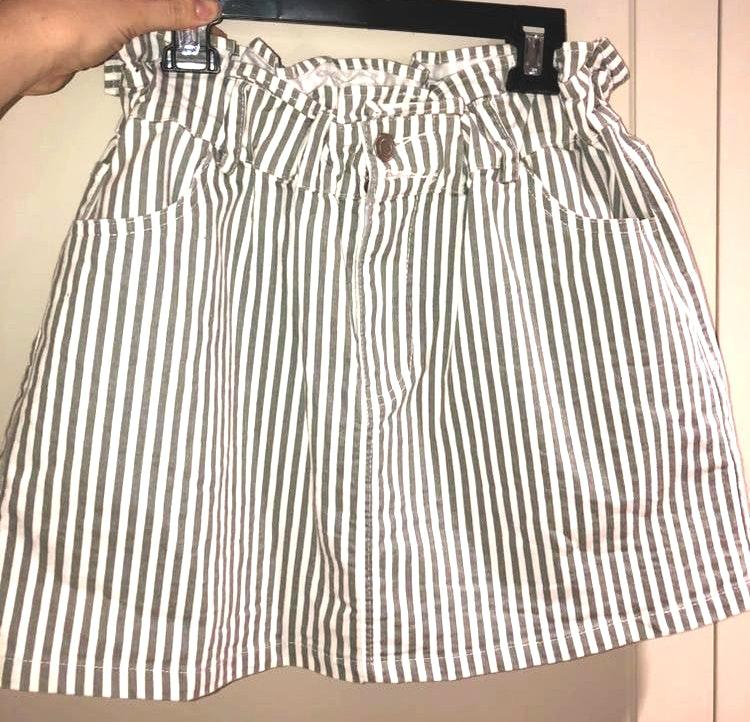 American Threads stripped cinched waist skirt