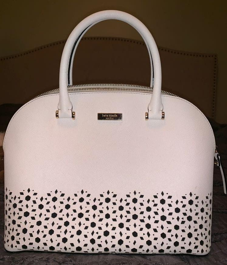 Kate Spade White Handbag With Flower Cut Outs