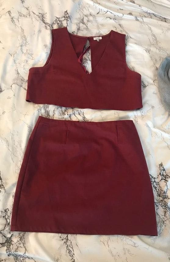Tobi Two Piece Maroon Outfit