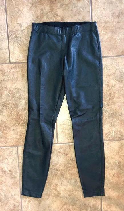 Max Studio Black Leather Moto Leggings