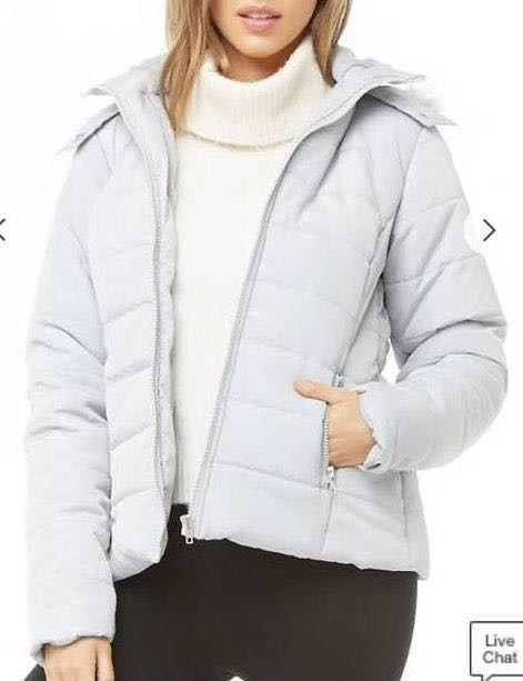 Forever 21 NWT- Grey/Silver Puffer Jacket