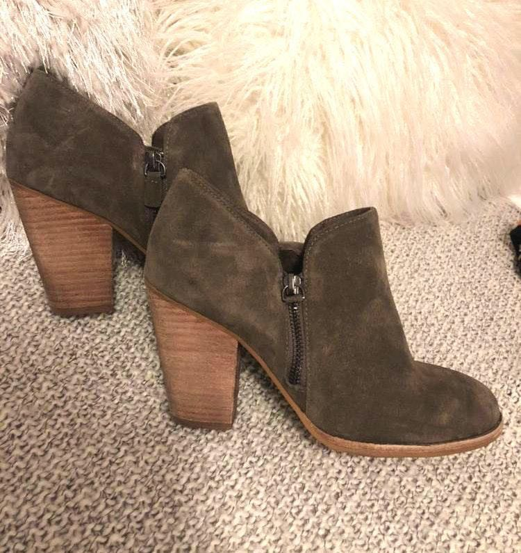 MIA Taupe Side Zip Booties.