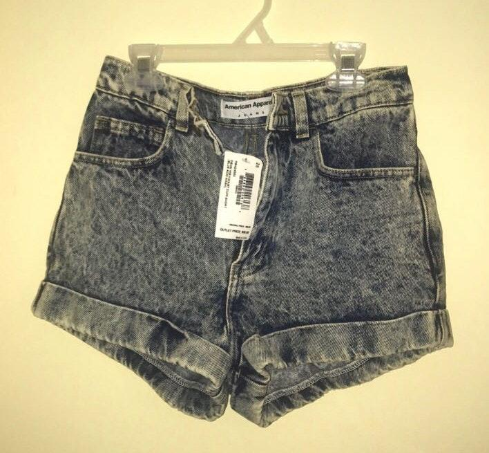 American Apparel Acid Wash High Waisted Shorts