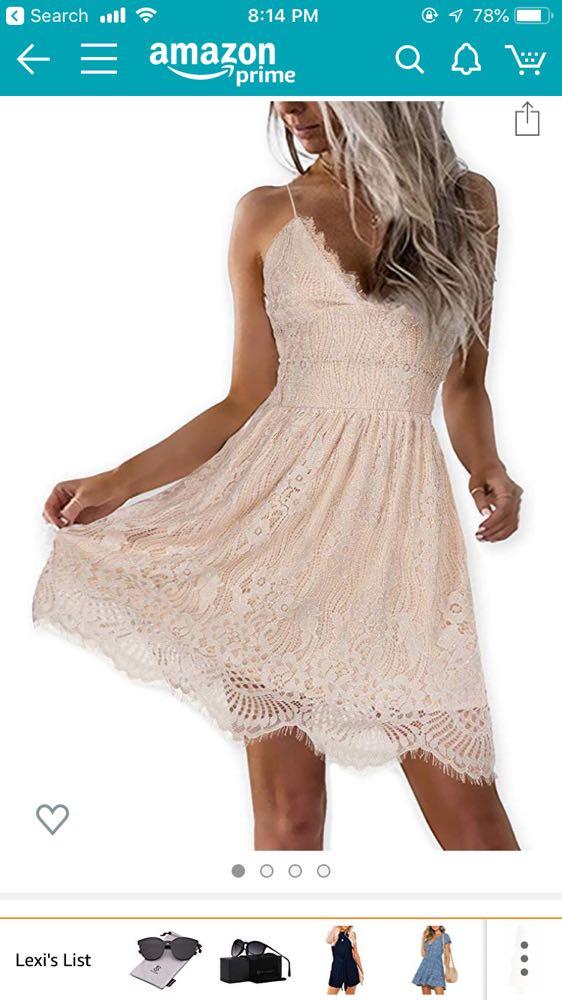 Amazon Light Beach Lace Dress With Crisscross Back