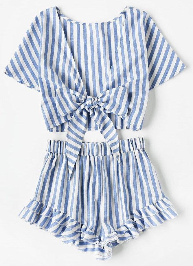 SheIn Blue And White Striped Two Piece Set