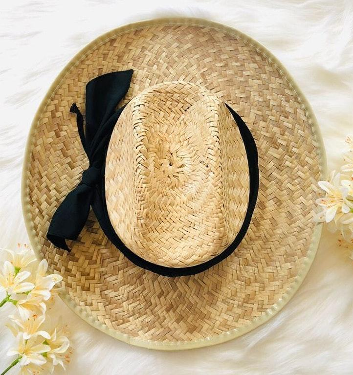 Woven basket straw hat wt Black Ribbon