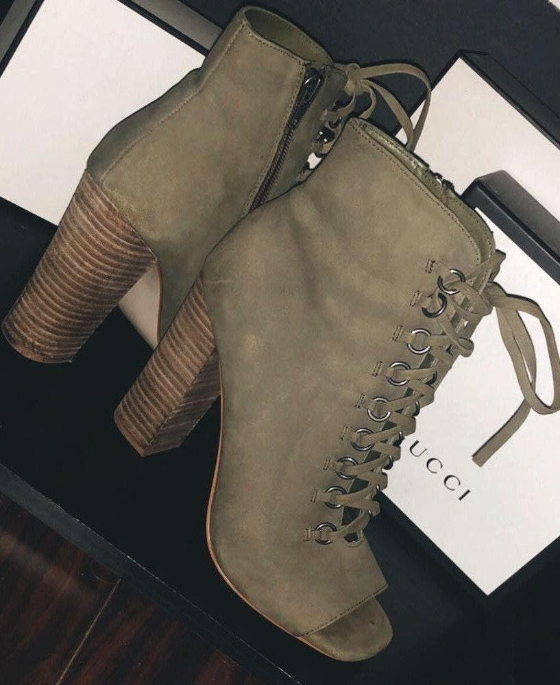 Steve Madden Freemee Lace-Up Peep-Toe Booties