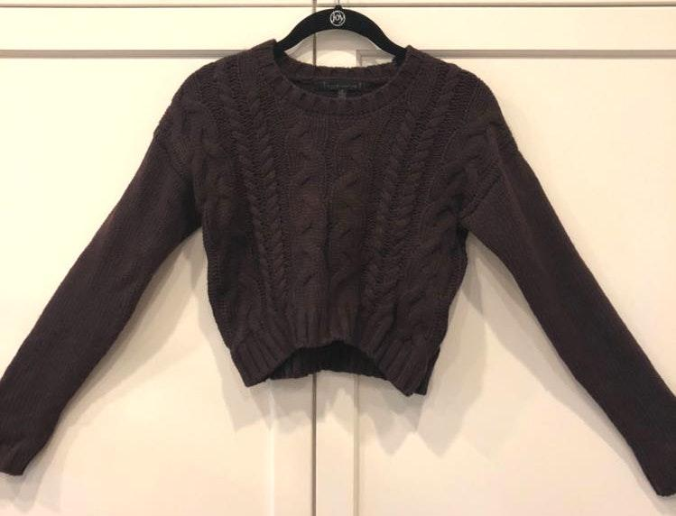 Lucca Couture Crop Cable Knit Deep Purple