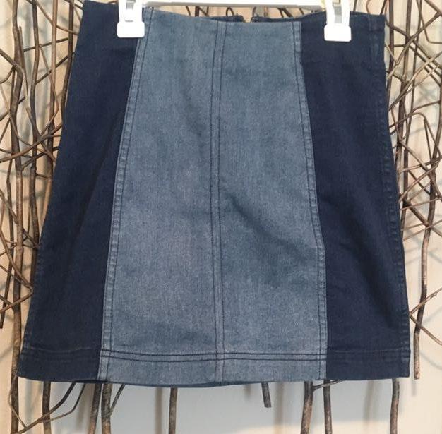 Free People Multi-Denim pencil skirt