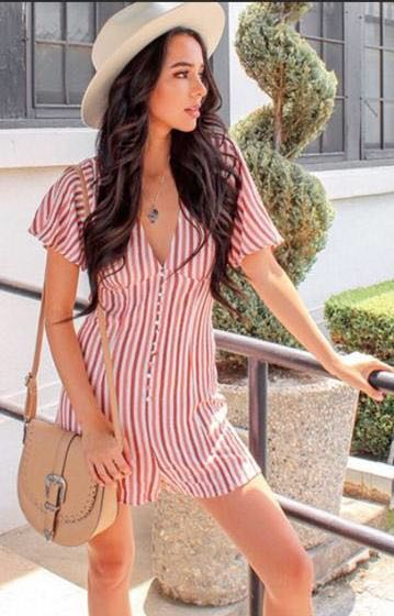Forever 21 Stripped Romper