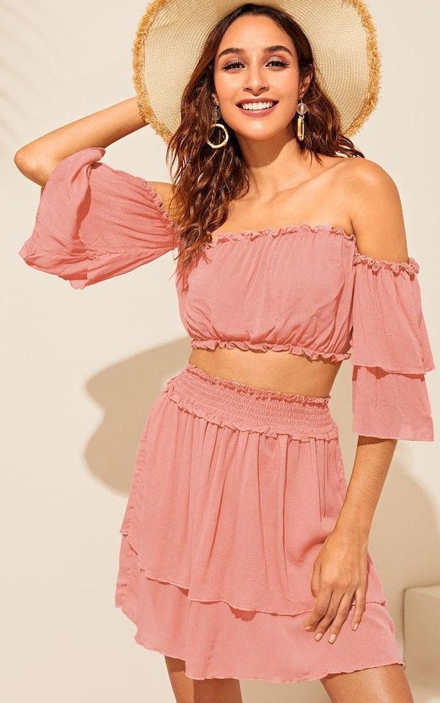 SheIn Off Shoulder Layered Sleeve Lettuce Trim Top & Shirred Skirt Set