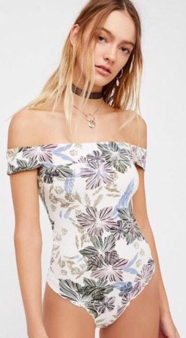 Free People Tropical Off The Shoulder Bodysuit