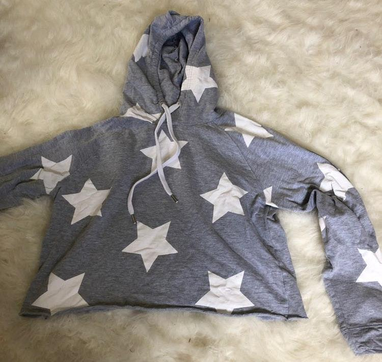 Grey Cropped Hoodie With White Stars