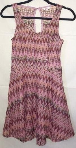 Candie's Pink Boho Sleeveless Chevron Dress Small