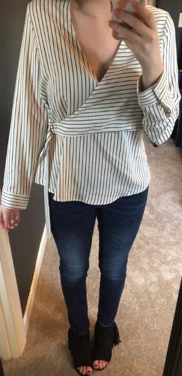 Topshop Black And White Blouse