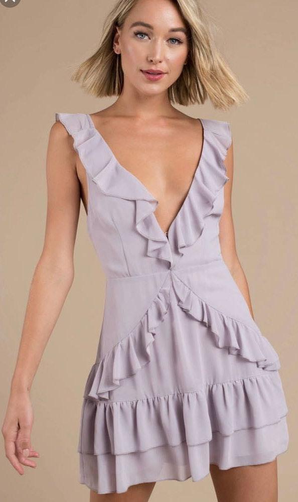 Tobi Purple Ruffle Mini Dress