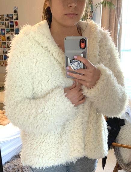 Free People Fuzzy White Jacket