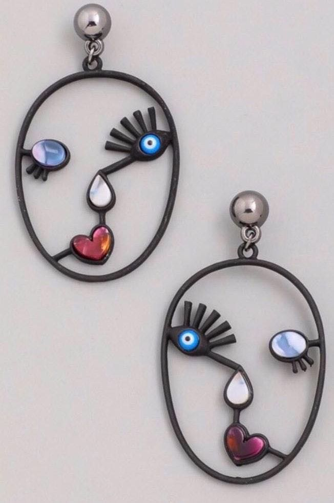 Cute 'Face' Large Hoop Earrings