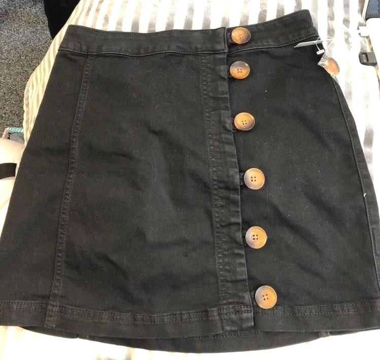 Free People Black Tortoise Button Skirt