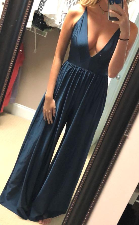 Urban Outfitters Dark Blue V Neck Jumpsuit