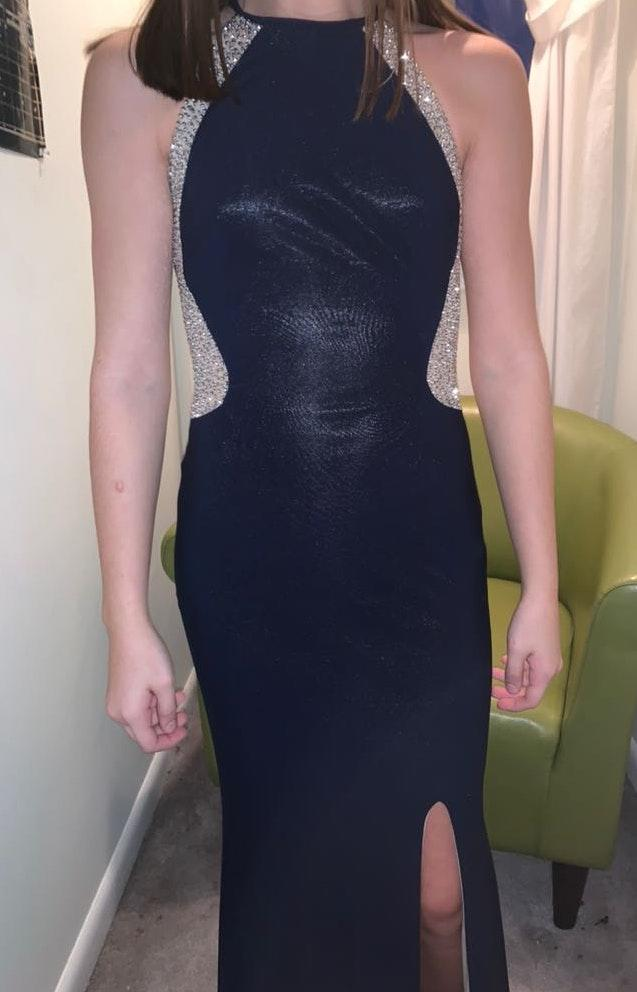 David's Bridal navy/ sequined formal dress