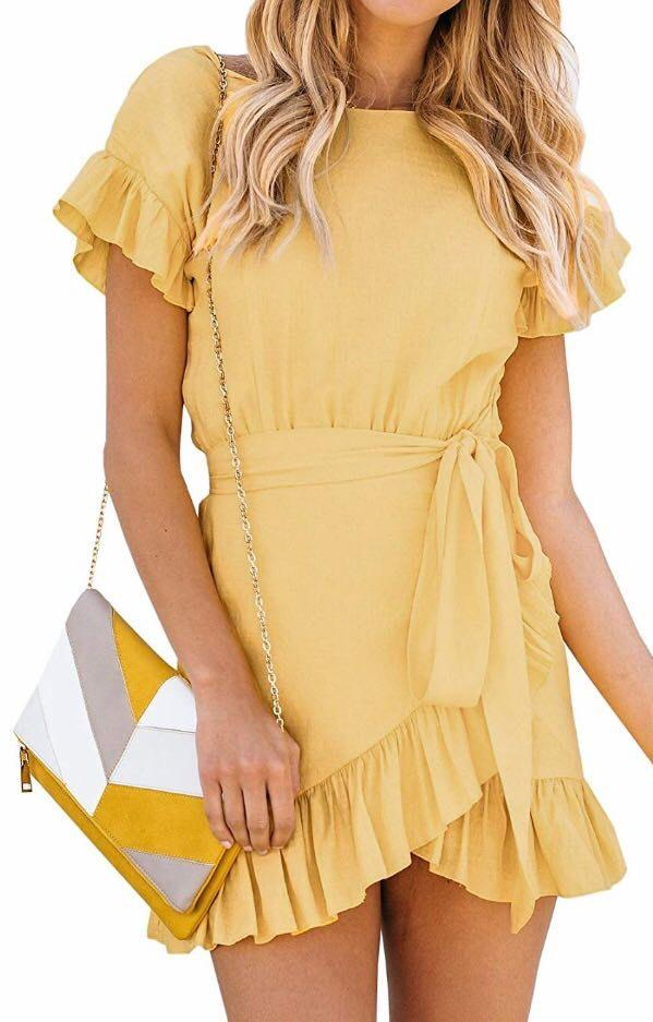 Boutique Yellow Ruffle Dress