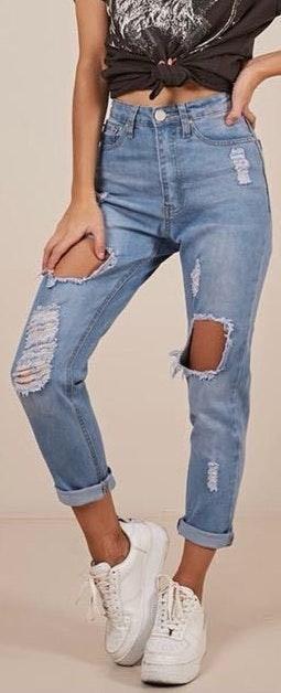 Showpo Ripped Boyfriend Jeans