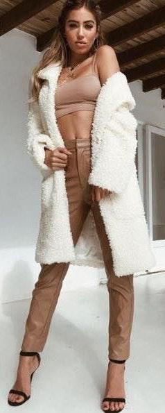 Tiger Mist Long Teddy Fur Coat