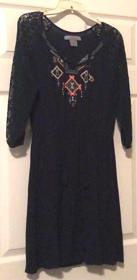 Flying Tomato Navy Embroidered Dress