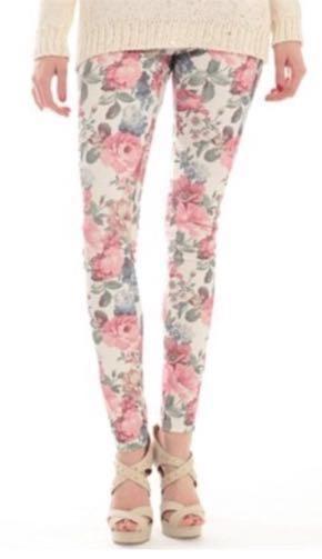 Pink Gray Floral Print Leggings