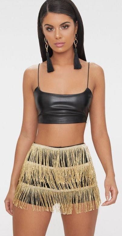 Pretty Little Thing Gold Tiered Fringe Shorts