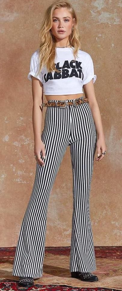 Nasty Gal Stretchy Striped Flare Pants