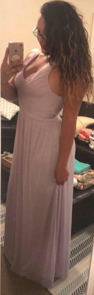 David's Bridal Lavender Bridesmaids Dress