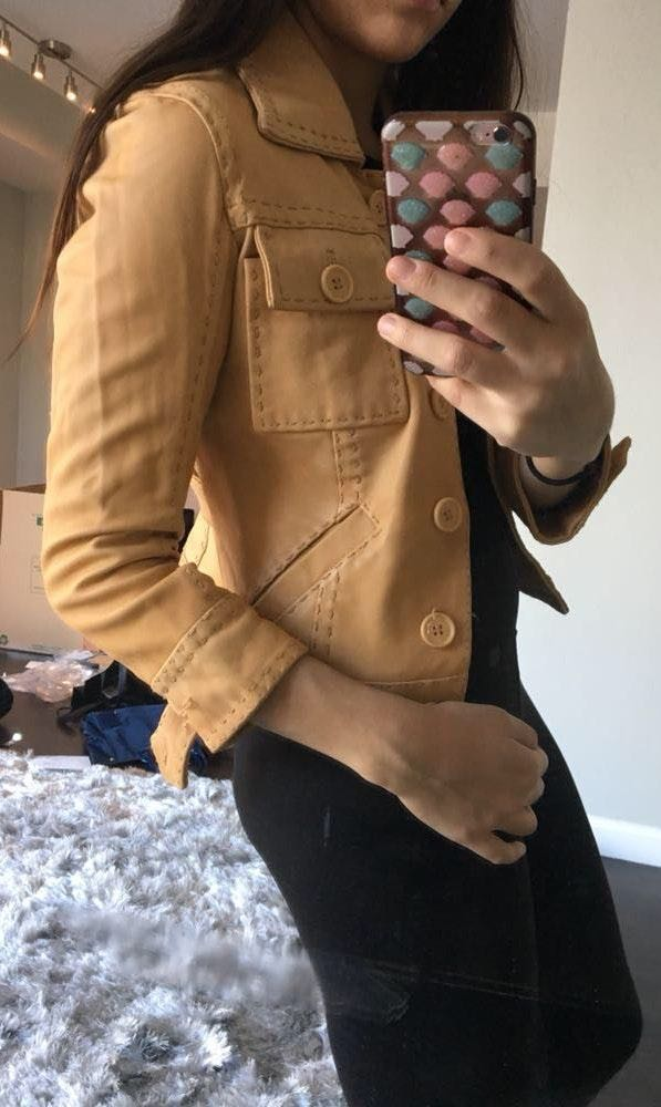 Bebe Authentic Leather Beige Jacket