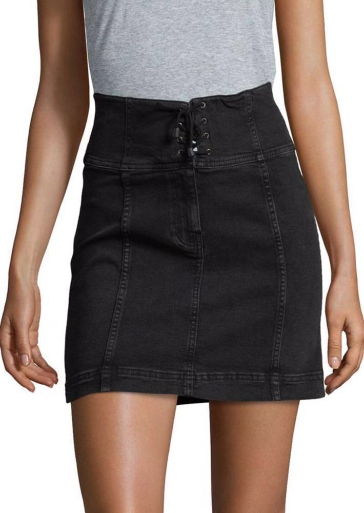 7eebf01715 We're the buy/sell app for cute clothes. Say to being bored of your  clothes. Home Free People Modern Femme Laceup Denim Mini Skirt