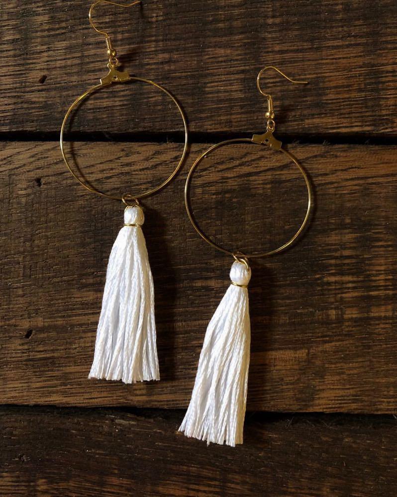 BOHO White Single Tassel Hoop Earrings