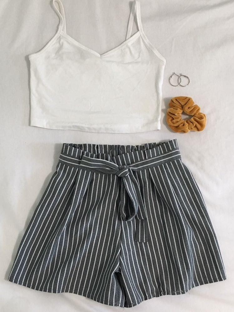 Striped Flowy Shorts