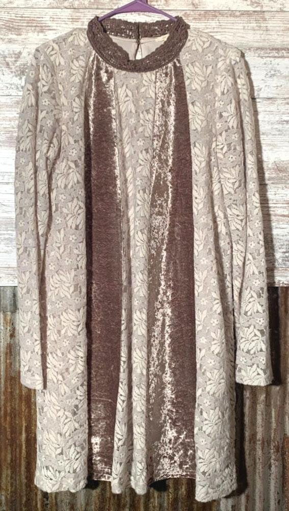 Mystree Velvet & Lace Long Sleeve Dress Size L