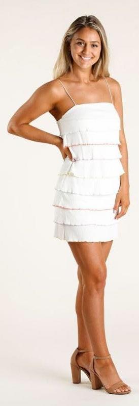 salt+soul Tori Color Edge Rib Tube Dress - White