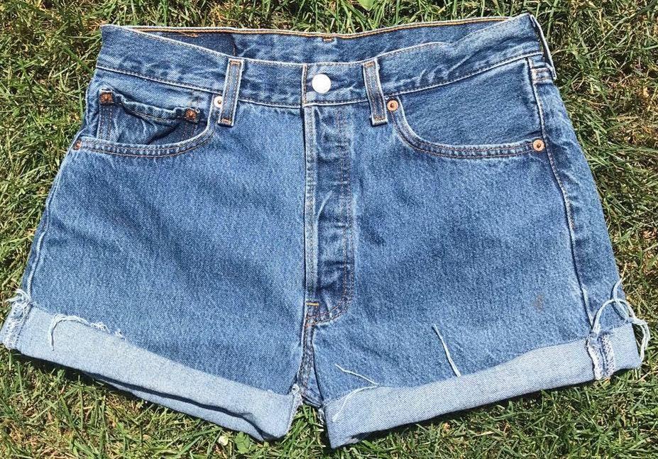 Levi's Levi Vintage High Waisted Distressed Denim Jean Shorts 501 32