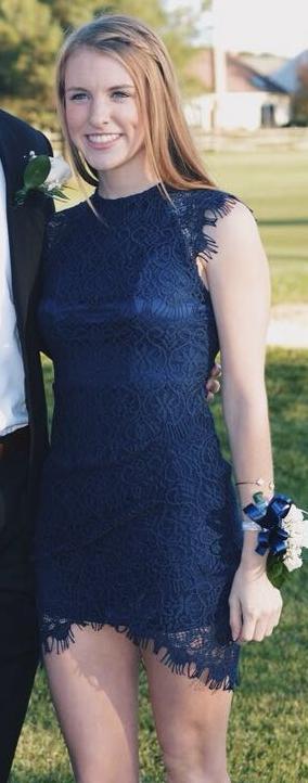 Xenia navy lace bodycon dress