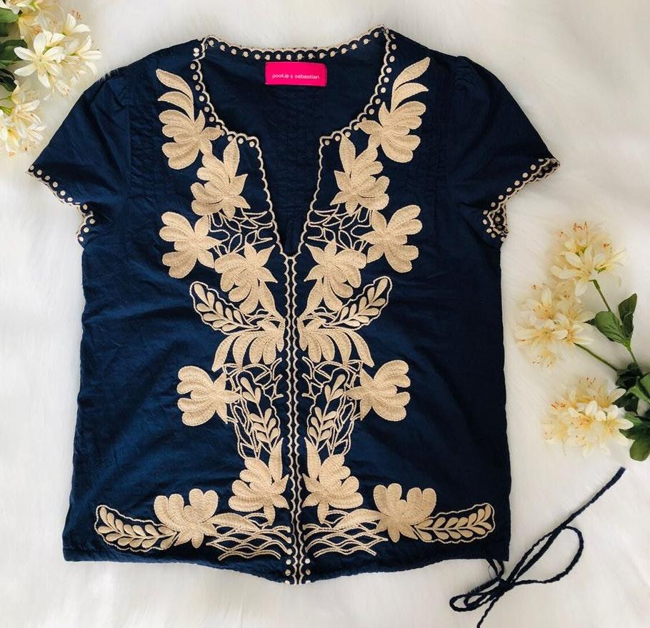Pookie & Sebastian embroidered navy top