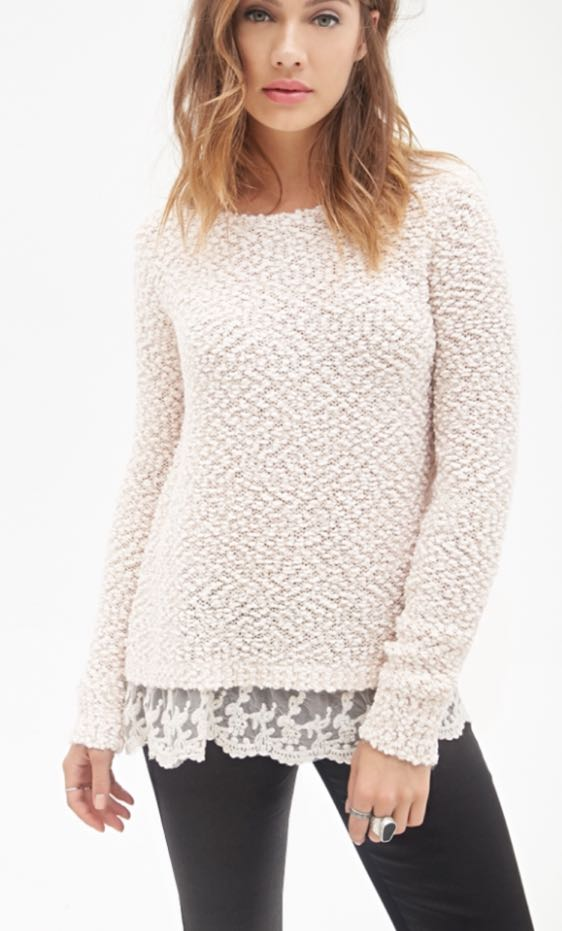 a341fcdae70 We re the buy sell app for cute clothes. Say to being bored of your  clothes. Home Forever 21 White Lace Trim Sweater