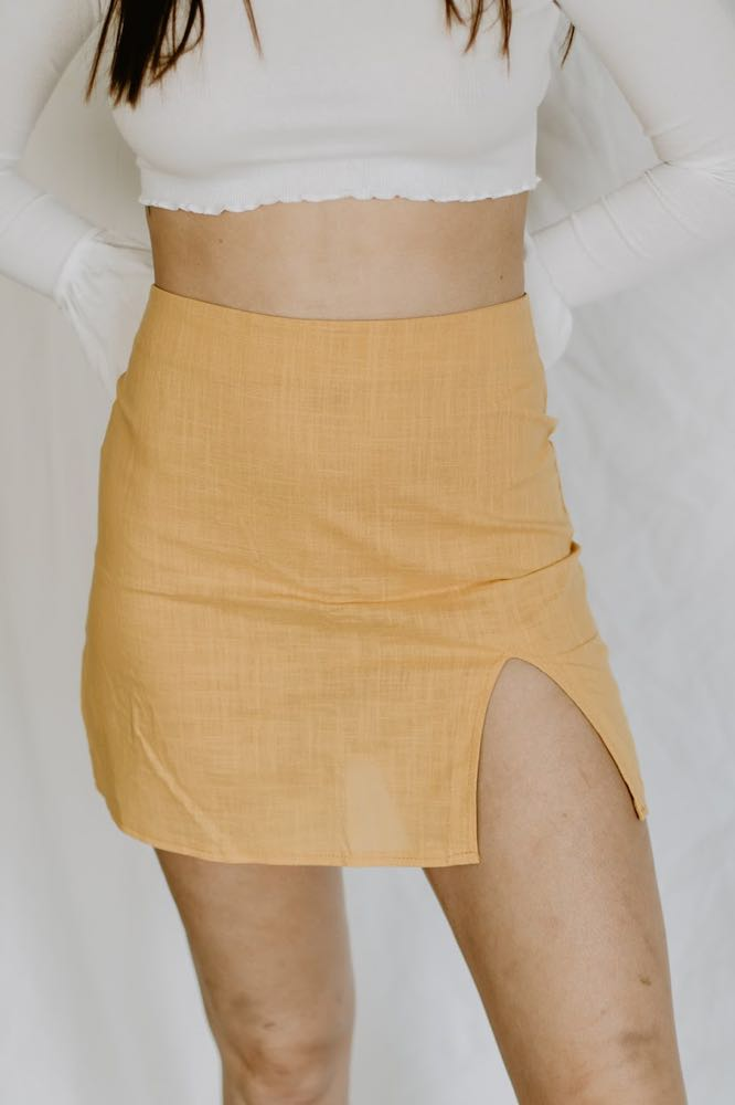 Boutique Yellow Slit Skirt