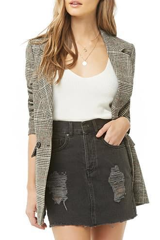 Forever 21 Black Distressed Denim Skirt