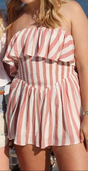 Hello Molly Strapless Red Striped Romper