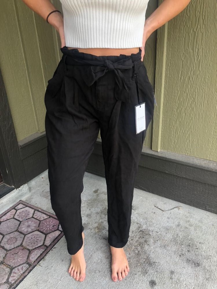 Celebrity Pink Black Paperbag Trousers