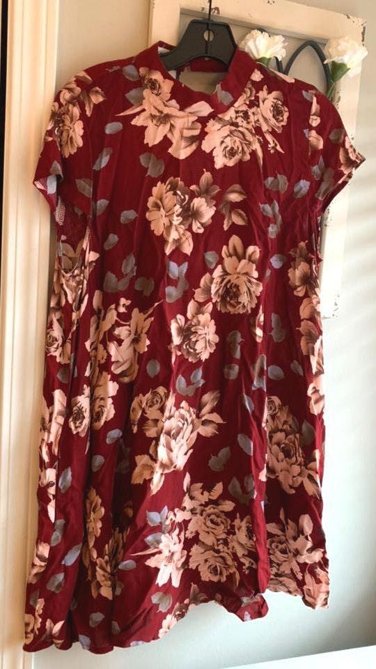 Cotton Candy LA Red Floral Dress